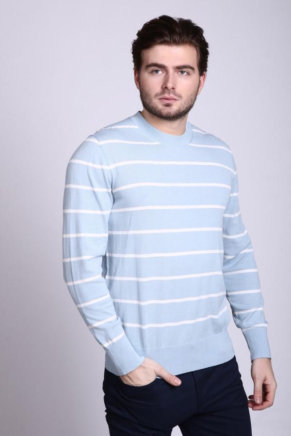 Джемпер Just ValeriДжемперы и Пуловеры<br>Джемпер мужской голубого цвета фирмы Just Valeri. Ткань состоит из 100% хлопка. Модель выполнена прямым покроем. Джемпер дополнен круглым воротом, втачными, длинными рукавами. Ткань имеет полосатый принт. Вырез горловины, низ рукавов и низ изделия обшиты трикотажной резинкой. Джемпер поможет выглядеть стильно.