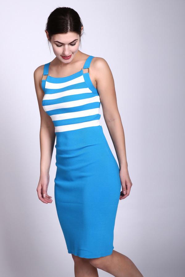 Платье Just ValeriПлатья<br>Платье голубого цвета фирмы Just Valeri. Ткань состоит из 48% вискозы и 52% нейлона. Модель облегающего покроя. Платье дополнено лямками, без рукавов. Верхняя часть платья имеет полосатый принт, нижняя- однотонного цвета. Такая модель всегда создаст комфорт в теплое время года.