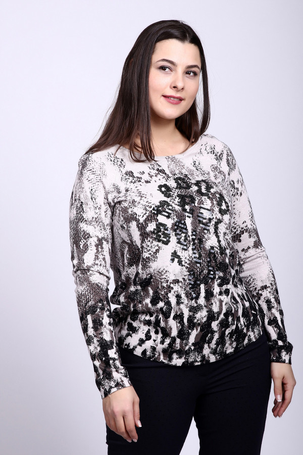 Пуловер Betty BarclayПуловеры<br>Пуловер серого цвета фирмы Betty Barclay. Ткань состоит из 82% вискозы и 18% полиамида. Модель выполнена прямым покроем. Пуловер дополнен округлым воротом, длинным рукавом реглан. Длинна модели средняя. Пуловер имеет разноцветный принт. В сочетании с брюками создает трендовый комплект.<br><br>Размер RU: 48<br>Пол: Женский<br>Возраст: Взрослый<br>Материал: полиамид 18%, вискоза 82%<br>Цвет: Серый