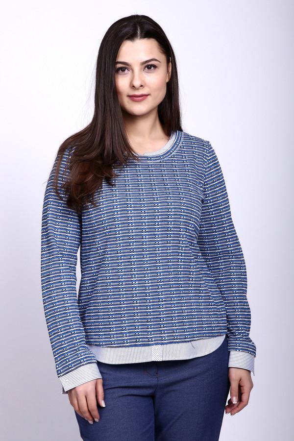 Пуловер Rabe collectionПуловеры<br>Пуловер женский синего цвета от бренда Rabe collection. Модель выполнена прямым фасоном. Изделие дополнено округлым воротом, втачными, длинными рукавами. Ткань состоит из 85% полиэстера, 15% полиамида. Сочетать можно с различными брюками.