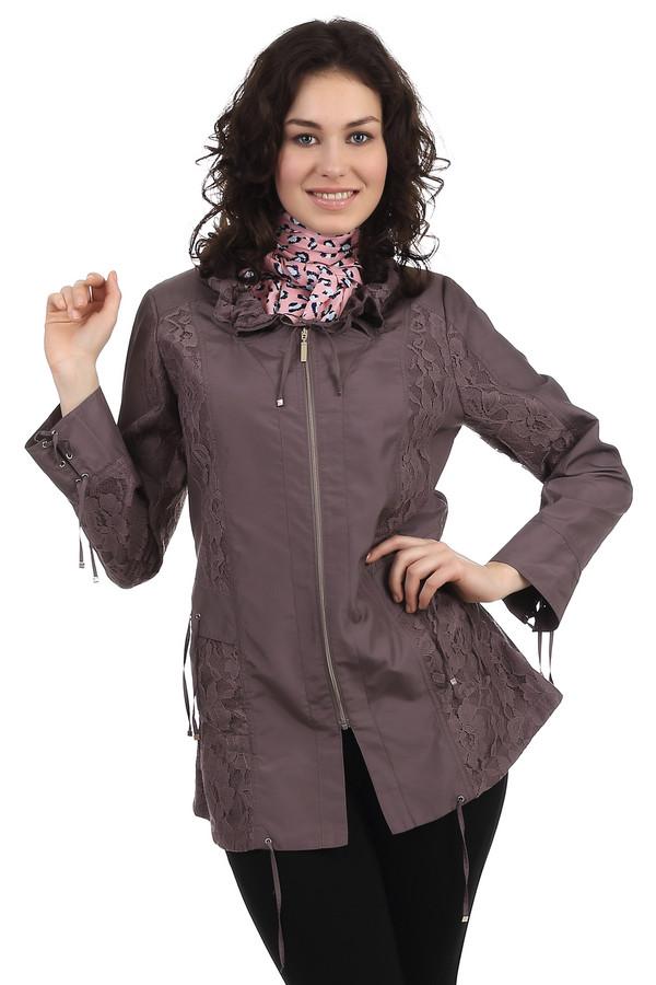 Куртка PezzoКуртки<br>Куртка на молнии для женщин от бренда Pezzo. Это куртка темно-серого цвета, декорированная кружевными вставками под цвет куртки на воротнике и по бокам. Кроме того, изделие дополнено завязочками на рукавах, воротнике и снизу. Состав материала, из которого куртка изготовлена - 100% полиэстер.<br><br>Размер RU: 46<br>Пол: Женский<br>Возраст: Взрослый<br>Материал: полиэстер 100%<br>Цвет: Коричневый