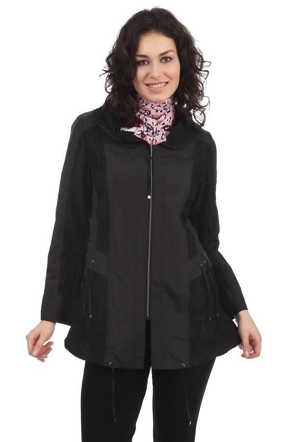 Куртка PezzoКуртки<br>Модная куртка для женщин свободного кроя, с отложным воротником. Это куртка черного цвета от бренда Pezzo. Куртка застегивается на молнии и дополнена завязочками на талии. Также, куртка декорирована кружевными вставками черного цвета. Материал - 100% полиэстер.<br><br>Размер RU: 46<br>Пол: Женский<br>Возраст: Взрослый<br>Материал: полиэстер 100%<br>Цвет: Чёрный