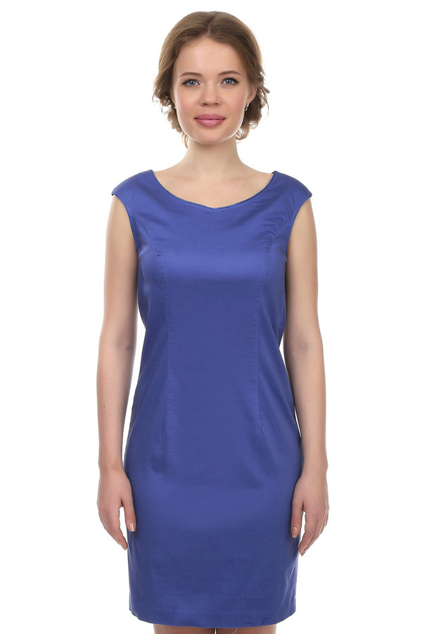Платье PezzoПлатья<br>Женское классическое платье-футляр синего цвета. Это платье-безрукавка от бренда Pezzo, классического покроя, с круглым вырезом. Изделие пошито из хлопка с небольшим процентом эластана, благодаря которому тянется и очень удобное. Платье слегка приталенное, длиной до колена.<br><br>Размер RU: 42<br>Пол: Женский<br>Возраст: Взрослый<br>Материал: эластан 3%, хлопок 97%<br>Цвет: Синий