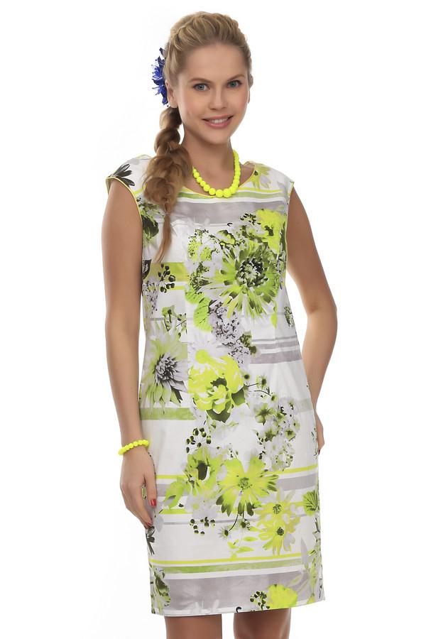 Платье PezzoПлатья<br>Женское классическое платье-футляр от бренда Pezzo. Данное платье пошито из ткани, в состав которой входит хлопок с добавлением эластана. Платье представлено в белом цвете и украшено цветочным желто-зеленым принтом. Вырез данного платья круглый, рукав короткий, а длина его достигает колена.<br><br>Размер RU: 42<br>Пол: Женский<br>Возраст: Взрослый<br>Материал: эластан 3%, хлопок 97%<br>Цвет: Разноцветный