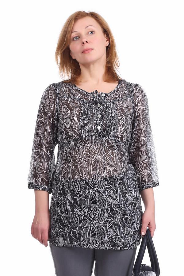 Блузa PezzoБлузы<br>Полупрозрачная блуза для женщин, от бренда Pezzo. Это блуза черного цвета с тропическим принтом белого цвета. Топ слегка удлиненный, с круглым вырезом на пуговицах и рукавами три четверти. Спинка дополнена завязками на талии. Изделие выполнено из легкой ткани. В комплект к блузе можно приобрести  юбку Pezzo .<br><br>Размер RU: 52<br>Пол: Женский<br>Возраст: Взрослый<br>Материал: полиэстер 100%<br>Цвет: Разноцветный