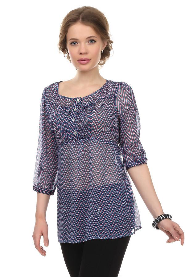 Блузa PezzoБлузы<br>Полупрозрачная блуза для женщин, от бренда Pezzo. Это разноцветная блуза с геометрическим принтом. Топ слегка удлиненный, с круглым вырезом на пуговицах и рукавами три четверти. Спинка дополнена завязками на талии. Изделие выполнено из легкой ткани. В комплект к блузе можно приобрести  юбку Pezzo .<br><br>Размер RU: 52<br>Пол: Женский<br>Возраст: Взрослый<br>Материал: полиэстер 100%<br>Цвет: Разноцветный