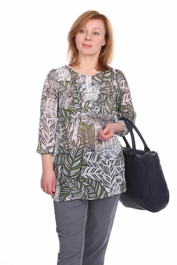 Блузa PezzoБлузы<br>Полупрозрачная блуза для женщин, от бренда Pezzo. Это блуза белого цвета с тропическим черно-зеленым принтом. Топ слегка удлиненный, с круглым вырезом на пуговицах и рукавами три четверти. Спинка дополнена завязками на талии. Изделие выполнено из легкой ткани. В комплект к блузе можно приобрести  юбку Pezzo .<br><br>Размер RU: 46<br>Пол: Женский<br>Возраст: Взрослый<br>Материал: полиэстер 100%<br>Цвет: Разноцветный