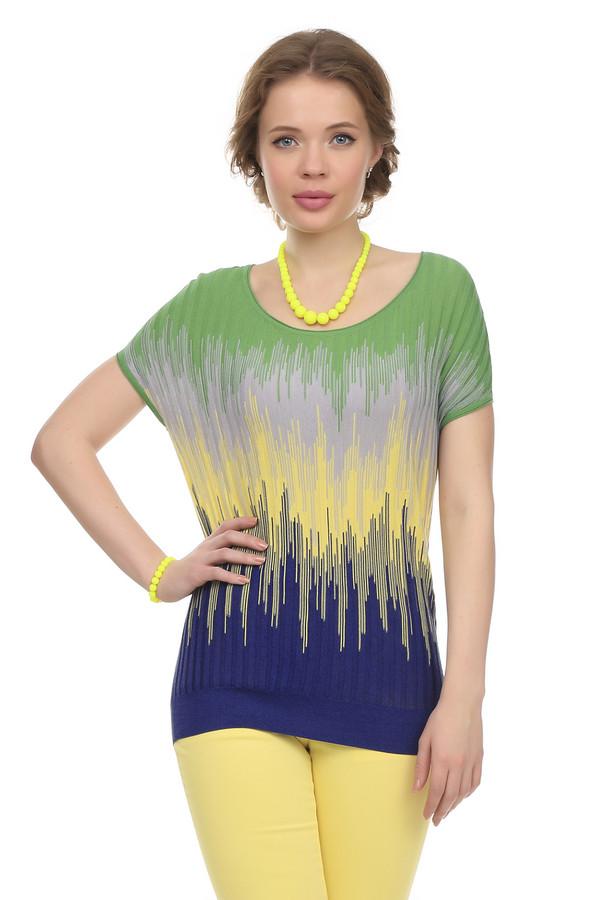 Пуловер Just ValeriПуловеры<br>Невероятно красочный пуловер от бренда Just Valeri прямого кроя выполнен из натурального трикотажа комбинированного цвета. Изделие дополнено: круглым вырезом и короткими рукавами-кимоно. Пуловер оформлен вязанным узором с переходами цветов.<br><br>Размер RU: 42<br>Пол: Женский<br>Возраст: Взрослый<br>Материал: хлопок 58%, вискоза 42%<br>Цвет: Разноцветный