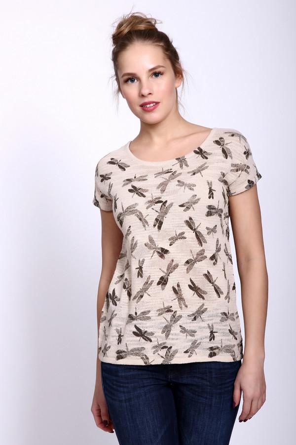 Пуловер PezzoПуловеры<br>Пуловер женский бежевого цвета фирмы Pezzo. Модель выполнена прямым фасоном. Изделие дополнено округлым воротом, втачными, короткими рукавами. Ткань имеет принт. Состав ткани: 75% хлопок, 25% полиамид. Сочетать можно с различными брюками, юбками.