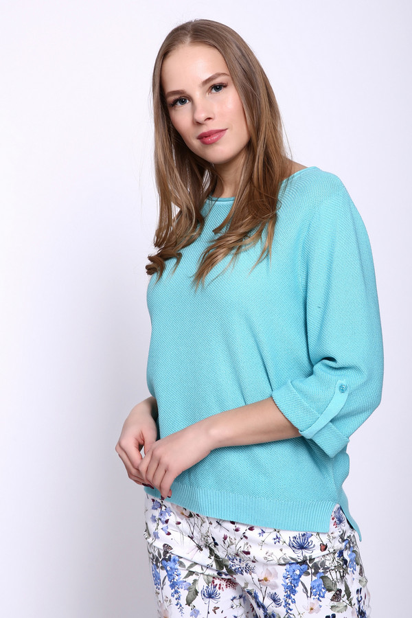 Пуловер PezzoПуловеры<br><br><br>Размер RU: 44<br>Пол: Женский<br>Возраст: Взрослый<br>Материал: вискоза 33%, хлопок 67%<br>Цвет: Голубой