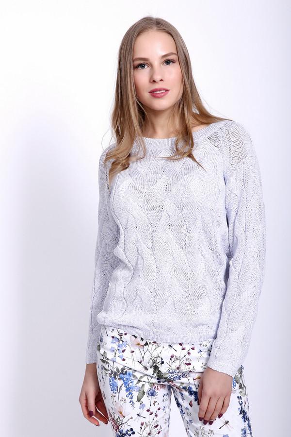 Пуловер PezzoПуловеры<br>Пуловер женский сиреневого цвета фирмы Pezzo. Модель выполнена прямым фасоном. Изделие дополнено округлым воротом, длинными рукавами реглан. Пуловер изготовлен ажурной вязкой. Ворот и рукава заканчиваются вязаной резинкой. Гармонировать может с брюками и юбками.
