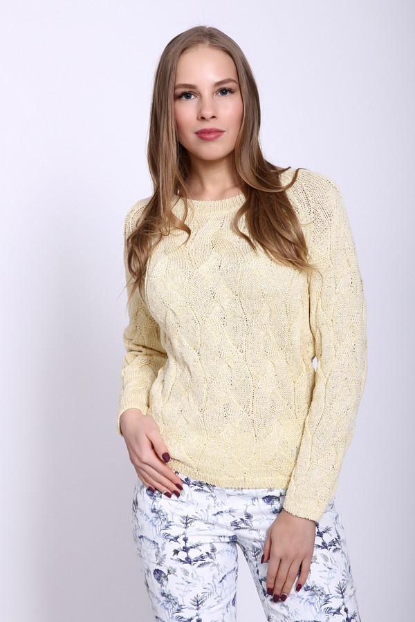 Пуловер PezzoПуловеры<br>Пуловер женский желтого цвета фирмы Pezzo. Модель выполнена прямым фасоном. Изделие дополнено округлым воротом, длинными рукавами реглан. Пуловер изготовлен ажурной вязкой. Ворот, рукава и низ пуловера заканчивает вязаная резинка. Гармонировать может с различными деталями вашего гардероба.