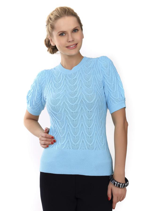 Пуловер Just ValeriПуловеры<br>Трикотажный пуловер от бренда Just Valeri выполнен из мягкой пряжи голубого цвета. Изделие дополнено: круглым вырезом и короткими рукавами-фонарик. Ворот, манжеты и нижний кант оформлены эластичной вязанной резиной. Пуловер декорирован вывязанным объемным узором.<br><br>Размер RU: 46<br>Пол: Женский<br>Возраст: Взрослый<br>Материал: вискоза 60%, хлопок 40%<br>Цвет: Голубой