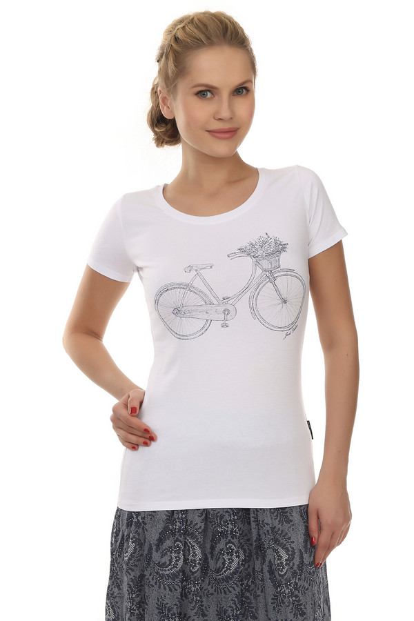 Футболка Just ValeriФутболки<br>Женственная футболка от бренда Just Valeri прилегающего кроя белого цвета. Изделие дополнено: круглым вырезом горловины и короткими рукавами. Футболка декорирована контрастным принтом с велосипедом.<br><br>Размер RU: 42<br>Пол: Женский<br>Возраст: Взрослый<br>Материал: хлопок 95%, эластан 5%<br>Цвет: Белый