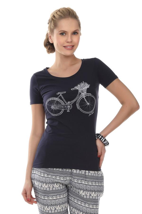 Футболка Just ValeriФутболки<br>Женственная футболка от бренда Just Valeri прилегающего кроя темно-синего цвета. Изделие дополнено: круглым вырезом горловины и короткими рукавами. Футболка декорирована контрастным принтом с велосипедом.<br><br>Размер RU: 48<br>Пол: Женский<br>Возраст: Взрослый<br>Материал: хлопок 95%, эластан 5%<br>Цвет: Синий