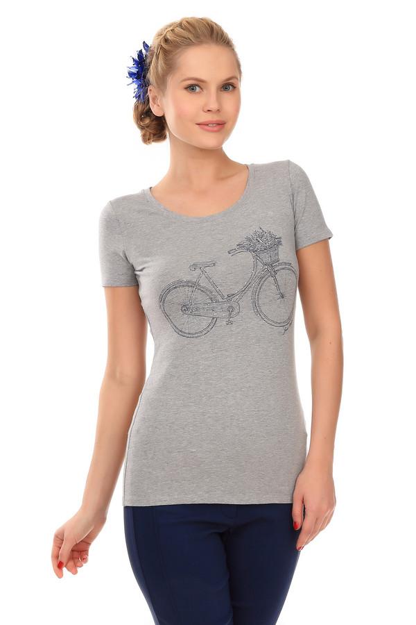 Футболка Just ValeriФутболки<br>Женственная футболка от бренда Just Valeri прилегающего кроя серого цвета. Изделие дополнено: круглым вырезом горловины и короткими рукавами. Футболка декорирована контрастным принтом с велосипедом.<br><br>Размер RU: 44<br>Пол: Женский<br>Возраст: Взрослый<br>Материал: хлопок 95%, эластан 5%<br>Цвет: Серый