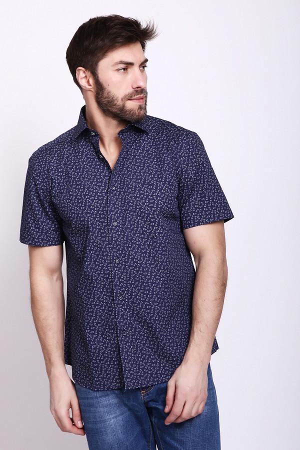 Мужские рубашки с коротким рукавом PezzoКороткий рукав<br>Рубашка мужская синего цвета фирмы Pezzo. Модель выполнена прямым покроем. Изделие дополнено откладным воротом на стойке, застежка на пуговицы, втачными, короткими рукавами, накладной, передний карман, задней кокеткой, складками. Рубашка имеет принт. Подшита рубашка полукругом. Носить можно с различными брюками и джинсами.