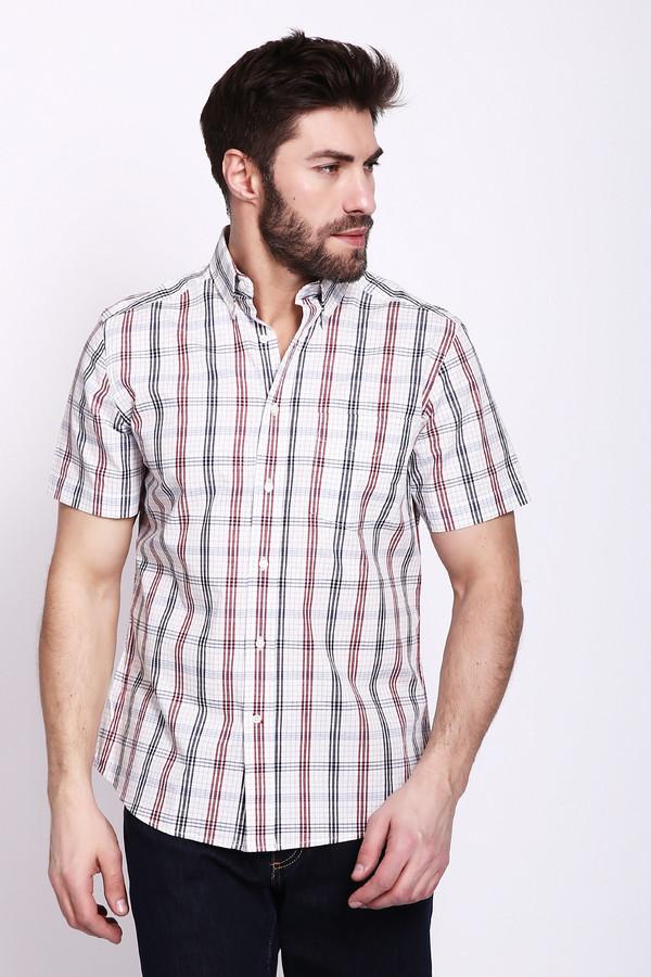 Мужские рубашки с коротким рукавом PezzoКороткий рукав<br>Рубашка мужская белого цвета фирмы Pezzo. Модель выполнена прямым покроем. Изделие дополнено откладным воротом на стойке, застежка на пуговицы, короткими, втачными рукавами, накладной, передний карман, задней кокеткой, складками. Рубашка имеет разноцветные полосы. Такая модель прекрасное дополнение к различным брюкам и джинсам.