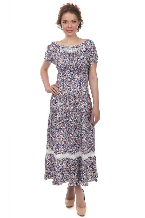 Длинное платье PezzoДлинные платья<br>Длинное платье фирмы Pezzo. Это платье в стиле кантри, пошитое из ткани с мелким цветочным принтом. Платье дополнено круглым вырезом на резинке и рукавами-колокольчиками длиной до середины плеча, само же платье по длине достигает щиколотки. Платье приталено и украшено белой кружевной лентой в нижней части.<br><br>Размер RU: 42<br>Пол: Женский<br>Возраст: Взрослый<br>Материал: район 100%<br>Цвет: Разноцветный