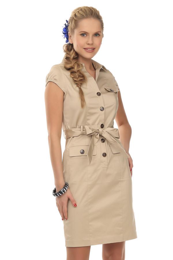 Платье PezzoПлатья<br>Классическое женское платье-сафари на пуговицах, от бренда Pezzo. Это платье бежевого цвета, пошитое из хлопка с небольшим процентом спандекса, благодаря которому довольно эластичное. Изделие дополнено: отложным воротником, поясом, передними боковыми карманами на пуговицах, а также нагрудным карманом на пуговице. Рукав данного платья короткий, на резинке.<br><br>Размер RU: 44<br>Пол: Женский<br>Возраст: Взрослый<br>Материал: хлопок 98%, спандекс 2%<br>Цвет: Бежевый
