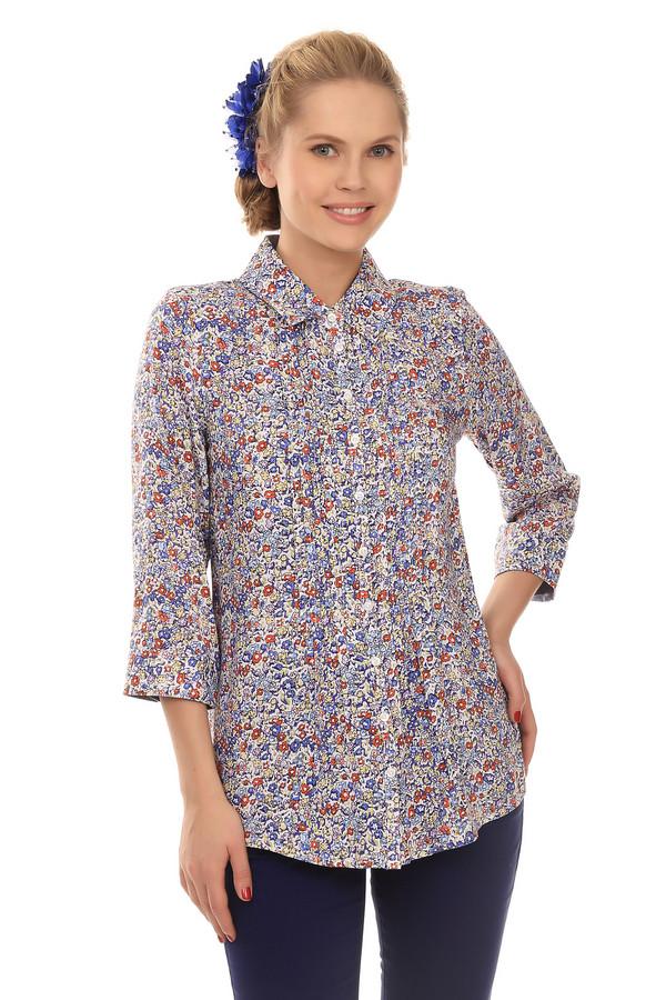 Блузa PezzoБлузы<br>Модная, слегка удлиненная женская блуза от бренда Pezzo. Это блуза-рубашка на пуговицах, с ярким цветочным принтом. Изделие дополнено отложным воротником и рукавом три четверти. Блуза пошита из 100% района.<br><br>Размер RU: 46<br>Пол: Женский<br>Возраст: Взрослый<br>Материал: район 100%<br>Цвет: Разноцветный