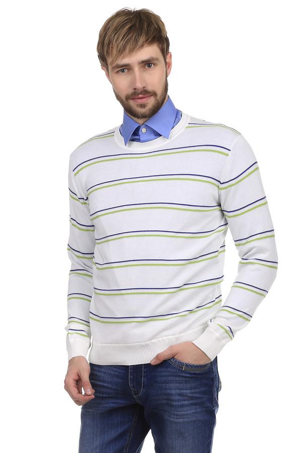 Джемпер PezzoДжемперы<br>Джемпер Pezzo белого цвета, украшенный полосками зеленого и фиолетового цветов. Основание горловины оснащено окантовкой белого цвета. Джемпер имеет строгий, сдержанный официально-деловой стиль, поэтому вполне подходит для посещения работы. Однако, вы будите лаконично выглядеть в этом джемпере на обычной прогулке.<br><br>Размер RU: 54<br>Пол: Мужской<br>Возраст: Взрослый<br>Материал: хлопок 100%<br>Цвет: Белый