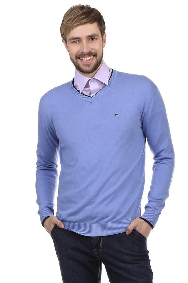 Джемпер PezzoДжемперы<br>Джемпер Pezzo светло-голубого цвета пошит из смеси хлопка и акрила. Дизайн джемпера очень сдержанный. Отсутствуют изображения и фигурная вязка. Горловина и рукава украшены вставками черного цвета. На груди небольшая вышивка в виде логотипа компании-производителя. Горловина свитера, украшена декоративным швом, делающим акцент на шее. Подходит для повседневного ношения в прохладную погоду.<br><br>Размер RU: 50<br>Пол: Мужской<br>Возраст: Взрослый<br>Материал: хлопок 60%, акрил 40%<br>Цвет: Голубой
