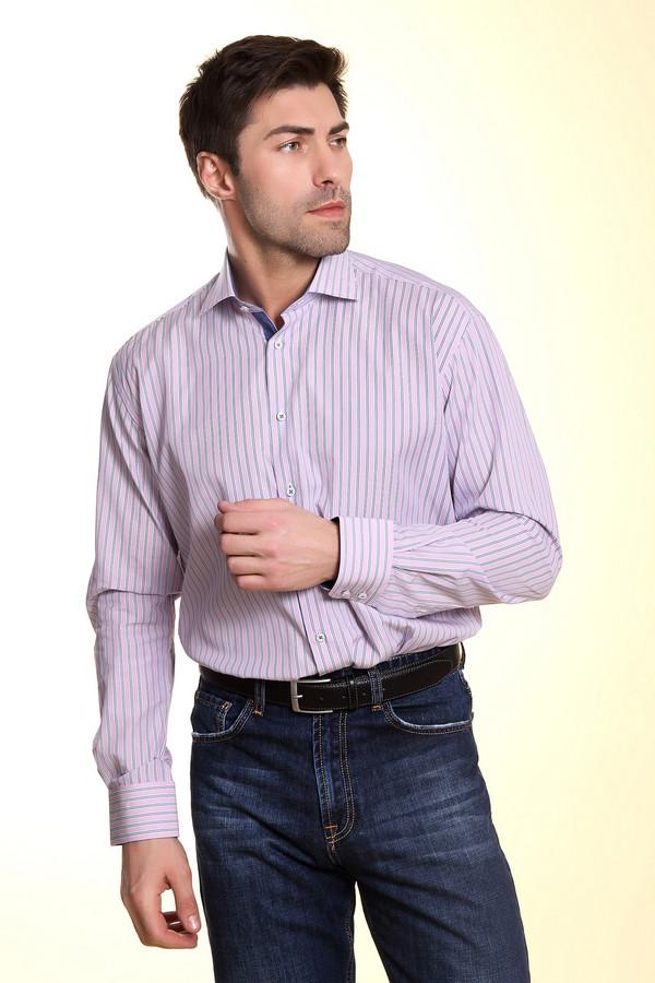 Рубашка Flavio NavaРубашки и сорочки<br>Розовая рубашка в голубую вертикальную полоску от бренда Flavio Nava прямого кроя. Изделие дополнено: отложным воротником, втачными рукавами, округлым низом, манжетами и планкой на пуговицах. Внутри ворот и планка оформлена темно-синей оторочкой.<br><br>Размер RU: 46<br>Пол: Мужской<br>Возраст: Взрослый<br>Материал: хлопок 100%<br>Цвет: Розовый