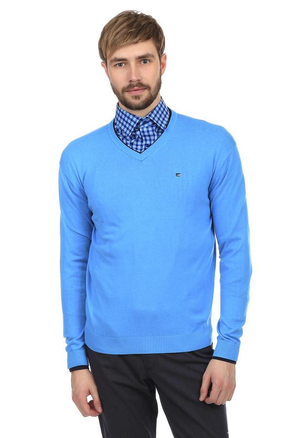 Джемпер PezzoДжемперы<br>Джемпер Pezzo голубого цвета. Выполнен из хлопка, с незначительным добавлением акрила. Рукава и ворот украшены черной окантовкой. На груди есть небольшая вышивка в виде эмблемы бренда. Широкий ворот позволяет носить под джемпером рубашку или водолазку. Удобен и практичен, как для повседневного использования, так и для ношения на работе. Долговечен. Не теряет цвет после стирки.<br><br>Размер RU: 52<br>Пол: Мужской<br>Возраст: Взрослый<br>Материал: хлопок 60%, акрил 40%<br>Цвет: Голубой