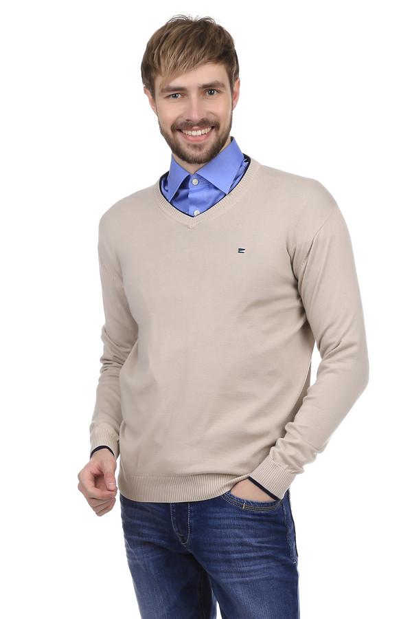 Джемпер PezzoДжемперы и Пуловеры<br>Джемпер Pezzo бежевого цвета. Выполнен из хлопка, с незначительным добавлением акрила. Рукава и ворот украшены черной окантовкой. На груди есть небольшая вышивка в виде эмблемы бренда. Широкий ворот позволяет носить под джемпером рубашку или водолазку. Удобен и практичен, как для повседневного использования, так и для ношения на работе.<br><br>Размер RU: 46<br>Пол: Мужской<br>Возраст: Взрослый<br>Материал: хлопок 60%, акрил 40%<br>Цвет: Бежевый