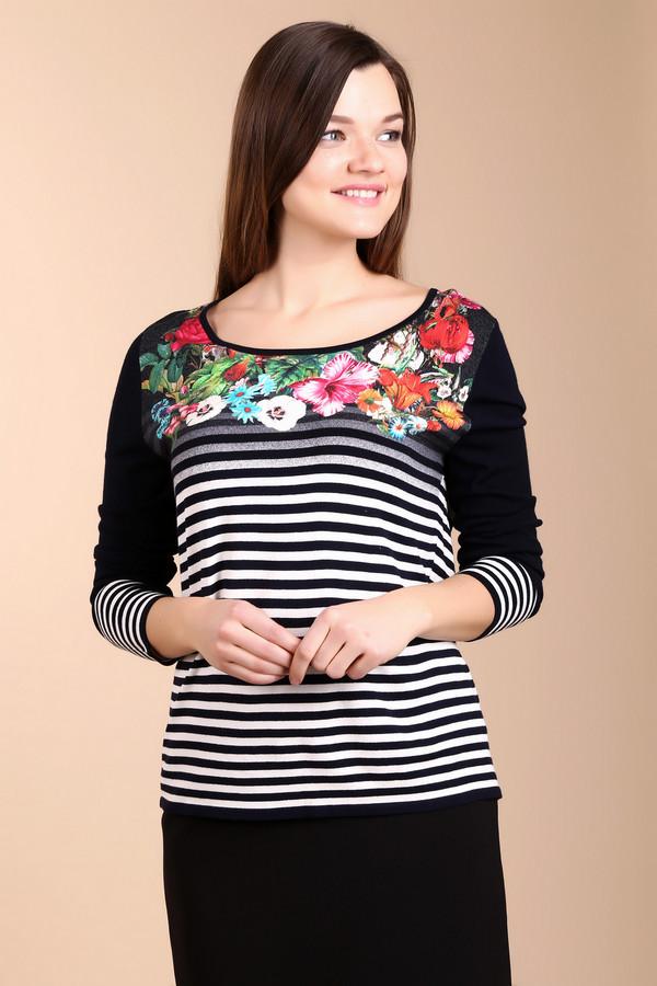 Пуловер BaslerПуловеры<br>Женственный пуловер от бренда Basler в черно-белую полоску. Основной состав материала пуловера это вискоза, поэтому он очень мягкий, удобный и приятный на ощупь. Изделие дополнено: круглым вырезом и длинными рукавами. Декольте пуловера украшено оригинальным и ярким цветочным принтом.<br><br>Размер RU: 50<br>Пол: Женский<br>Возраст: Взрослый<br>Материал: вискоза 90%, полиэстер 10%<br>Цвет: Разноцветный