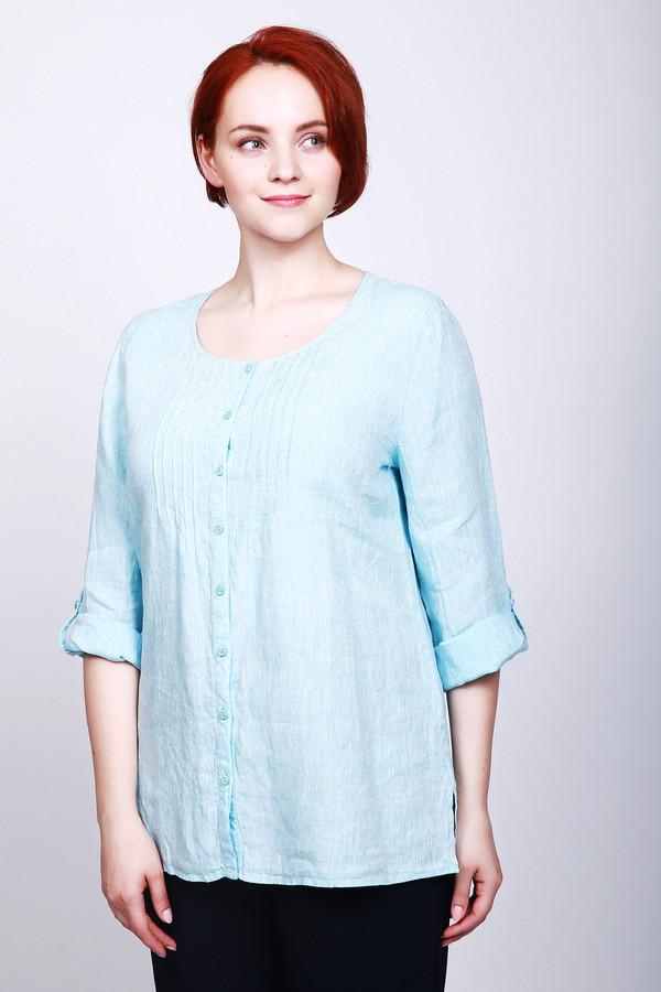 Блузa LebekБлузы<br>Блуза женская голубого цвета фирмы Barbara Lebek.Модель выполнена прямым покроем. Изделие дополнено округлым воротом, втачными рукавами 3/4 длинны, застежка на пуговицы, боковыми разрезами. Длинна рукава может регулироваться с помощью тесьмы на пуговицу. На грудном отделе находятся отстроченные защипы. Такая модель делает вашу стройнее и привлекательнее. Гармонировать может с различными брюками.