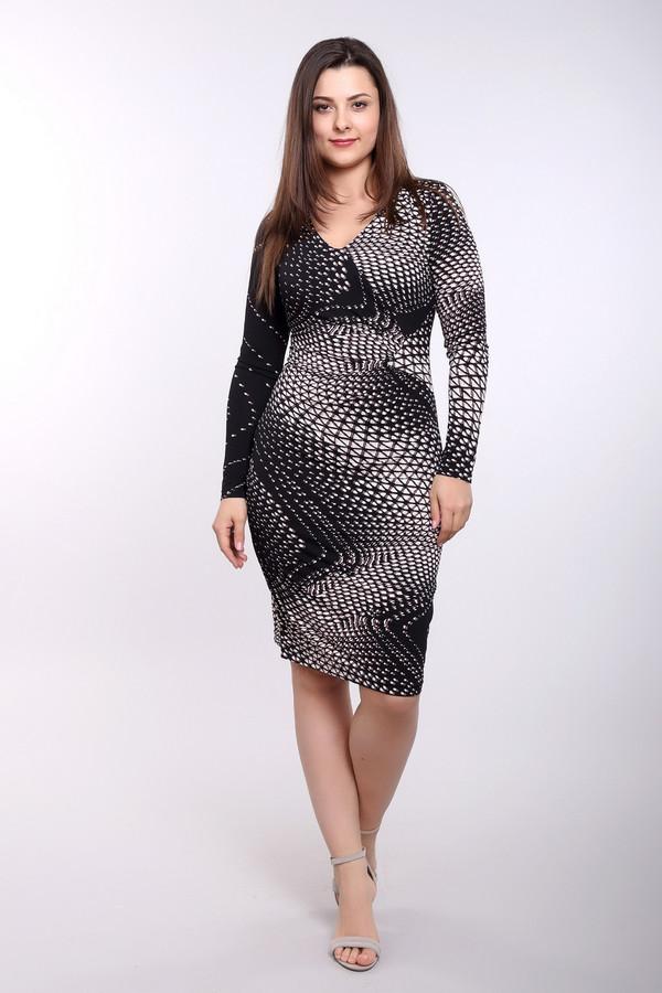 Платье Betty BarclayПлатья<br>Облегающее платье марки Betty Barclay выполнено в черно-белом цвете с оригинальным принтом. Изделие дополнено: v-образным вырезом и длинными рукавами. На спинке расположена скрытая застежка-молния. Платье в сочетании с жакетом уместно будет смотреться в офисе и так же гармонично выглядеть на вечернем мероприятии.<br><br>Размер RU: 50<br>Пол: Женский<br>Возраст: Взрослый<br>Материал: эластан 5%, полиэстер 95%<br>Цвет: Разноцветный