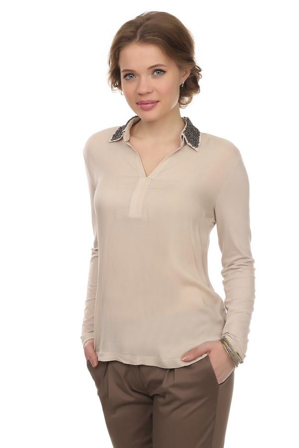 Блузa Betty BarclayБлузы<br>Элегантная бежевая блуза от бренда Betty Barclay прямого кроя выполнена из вискозного материала с добавлением эластана. Изделие дополнено: отложные отстегивающимся воротником и длинными рукавами. Воротник оформлен бисером. Прекрасно будет смотреться как с  юбками , так и с  брюками .