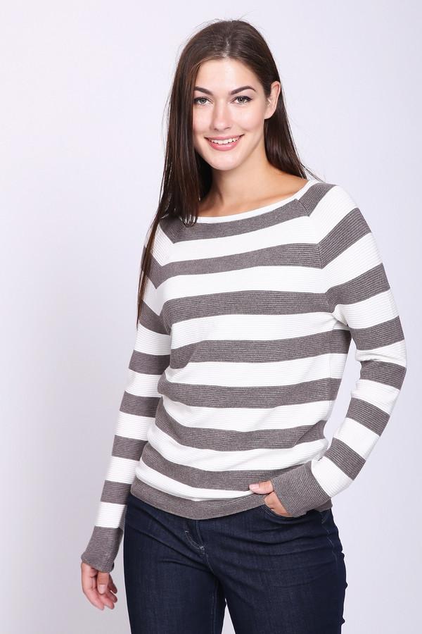 Пуловер PezzoПуловеры<br>Пуловер женский белого цвета фирмы Pezzo. Модель выполнена прямым покроем. Изделие дополнено округлым воротом, длинными рукавами реглан. Состав ткани состоит из 80% вискозы и 20% нейлона. Горизонтальные полосы бежевого цвета создают индивидуальность этого полувера. Носить можно с различными однотонными брюками и юбками.