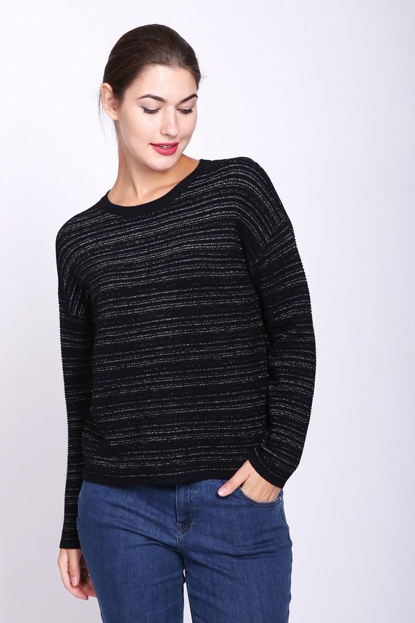 Пуловер PezzoПуловеры<br>Пуловер женский синего цвета фирмы Pezzo. Модель выполнена прямым фасоном. Изделие дополнено округлым воротом, приспущенными, длинными рукавами. По всему полотну расположены узкие полосы. Хорошая посадка по фигуре. Гармонировать может с различными брюками.