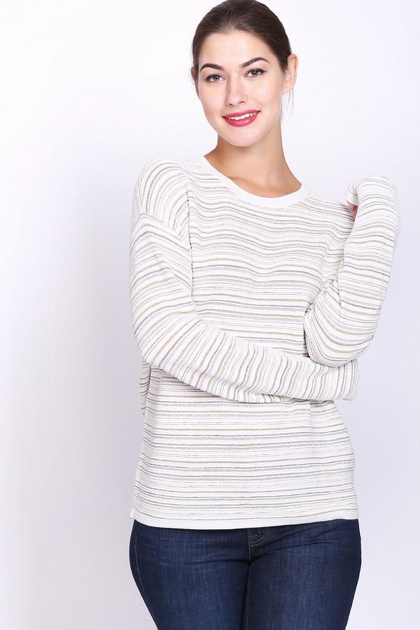 Пуловер PezzoПуловеры<br>Пуловер женский белого цвета фирмы Pezzo. Модель выполнена прямым фасоном. Изделие дополнено округлым воротом, приспущенными, длинными рукавами. По всему полотну расположены узкие полосы. Такая модель эффектно смотрится. Гармонировать может с различными брюками.