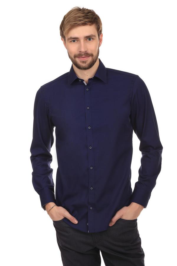 Рубашка с длинным рукавом VentiДлинный рукав<br>Рубашка от бренда Venti изготовлена из натурального 100% хлопка темно-синего цвета. Изделие дополнено: отложным воротником-стойкой, планкой на пуговицах и длинными рукавами. Манжеты застегиваются на несколько пуговиц. Прекрасно будет смотреться как с  классическими брюками , так и с  джинсами .   slim fit<br><br>Размер RU: 43<br>Пол: Мужской<br>Возраст: Взрослый<br>Материал: хлопок 100%<br>Цвет: Синий