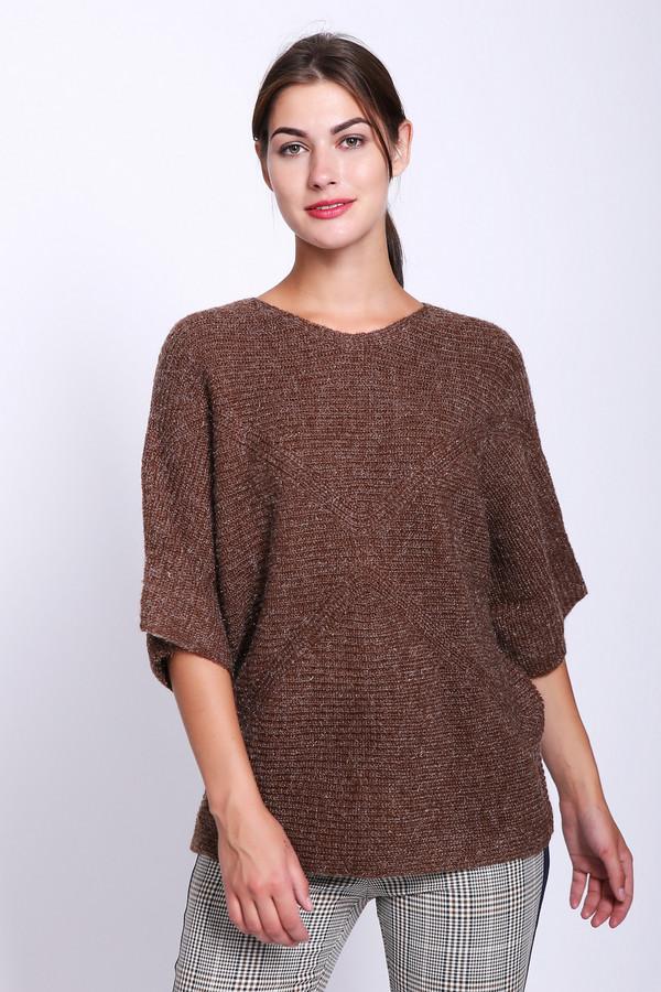 Пуловер PezzoПуловеры<br>Пуловер женский коричневого цвета фирмы Pezzo. Модель выполнена прямым покроем. Изделие дополнено округлым воротом, рукавами до локтя. Хорошая посадка по фигуре. Гармонировать может с различными брюками и юбками.