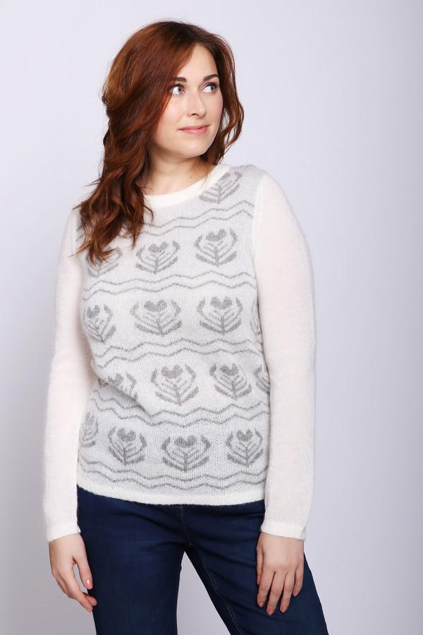 Пуловер PezzoПуловеры<br>Пуловер женский серого цвета фирмы Pezzo. Модель выполнена прямым покроем. Изделие дополнено округлым воротом, длинными рукавами. Передняя часть полувера имеет принт. Состав трикотажа состоит из 40% полиамида, 45% шерсти и 15% мохер. Такой пуловер всегда пригодится для прохладных дней. Гармонировать можно с различными деталями вашего гардероба.