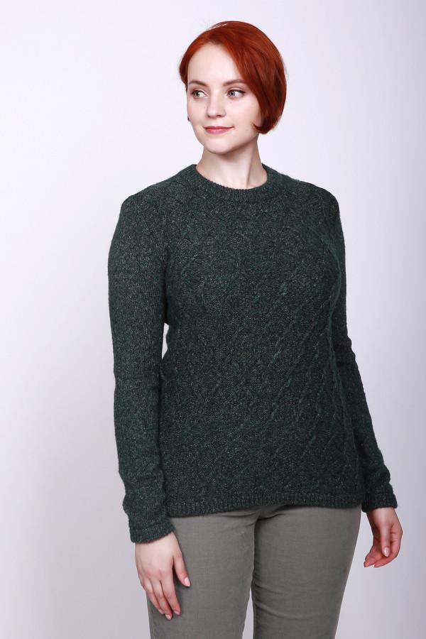 Пуловер PezzoПуловеры<br>Пуловер женский зеленого цвета фирмы Pezzo. Модель выполнена прямым покроем. Изделие дополнено округлым воротом, втачными, длинными рукавами. Окружность ворота, низ пуловера и рукава заканчивает вязаная резинка. Гармонировать может с различными брюками.