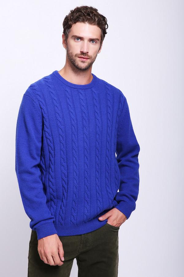 Джемпер PezzoДжемперы и Пуловеры<br>Джемпер мужской синего фирмы Pezzo. Модель выполнена прямым покроем. Изделие дополнено округлым воротом, втачными, длинными рукавами. Джемпер изготовлен из трикотажа. Гармонировать может с различными брюками.