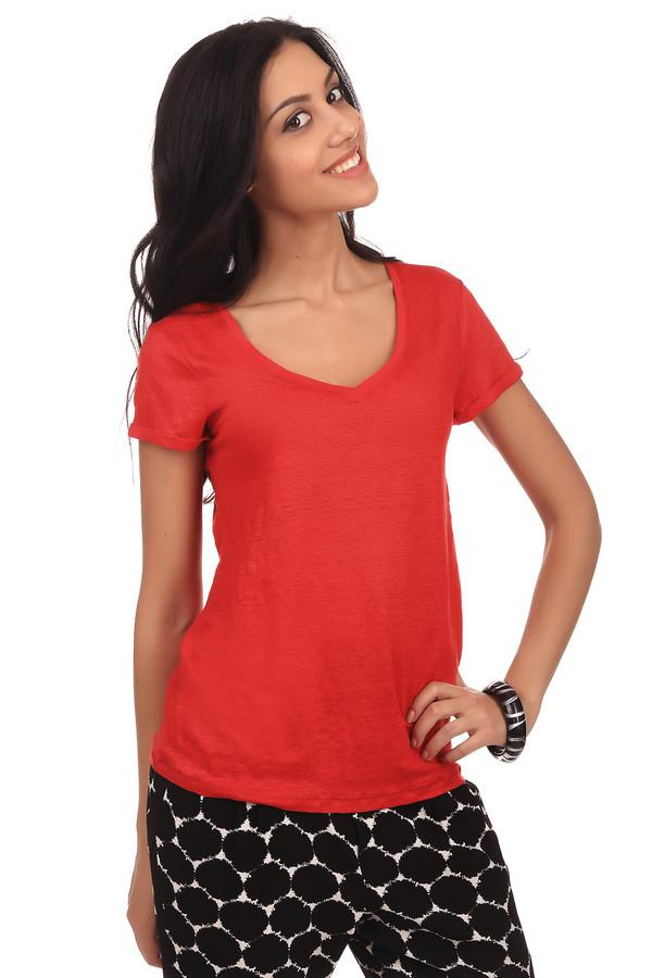 Футболка OuiФутболки<br>Женская футболка красного цвета от бренда Oui. Изделие пошито из материала, который на 100% состоит из льна. Эта футболка имеет короткий рукав с подворотом и глубокий V-образный скругленный вырез.<br><br>Размер RU: 50<br>Пол: Женский<br>Возраст: Взрослый<br>Материал: лен 100%<br>Цвет: Красный