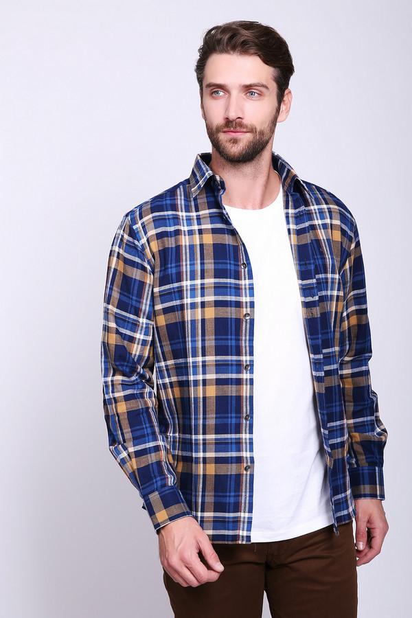 Рубашка с длинным рукавом PezzoДлинный рукав<br>Рубашка мужская синего цвета с коричневыми полосами фирмы Pezzo. Модель выполнена прямым фасоном. Изделие дополнено откладным воротом на стойке, застежка на пуговицы, накладным карманом, задней кокеткой и складкой, втачными, длинными рукавами с манжетами на пуговицы, боковыми выемками. Такая модель будет гармонировать с различными брюками.