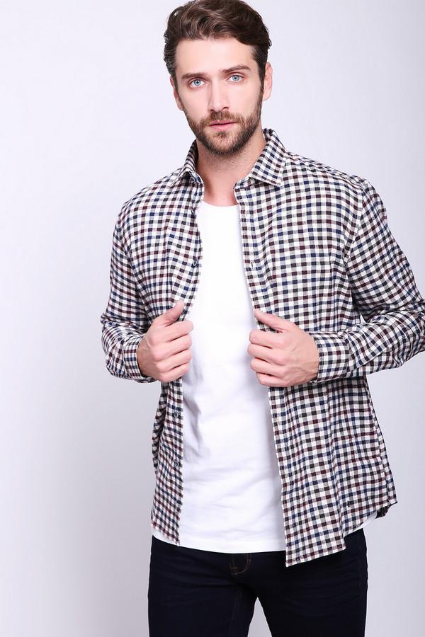 Рубашка с длинным рукавом PezzoДлинный рукав<br>Рубашка мужская в клетку фирмы Pezzo. Модель выполнена прямым покроем. Изделие дополнено откладным воротом на стойке, втачными, длинными рукавами с манжетами на пуговицы, застежка на пуговицы. Такая модель будет гармонировать с различными брюками.