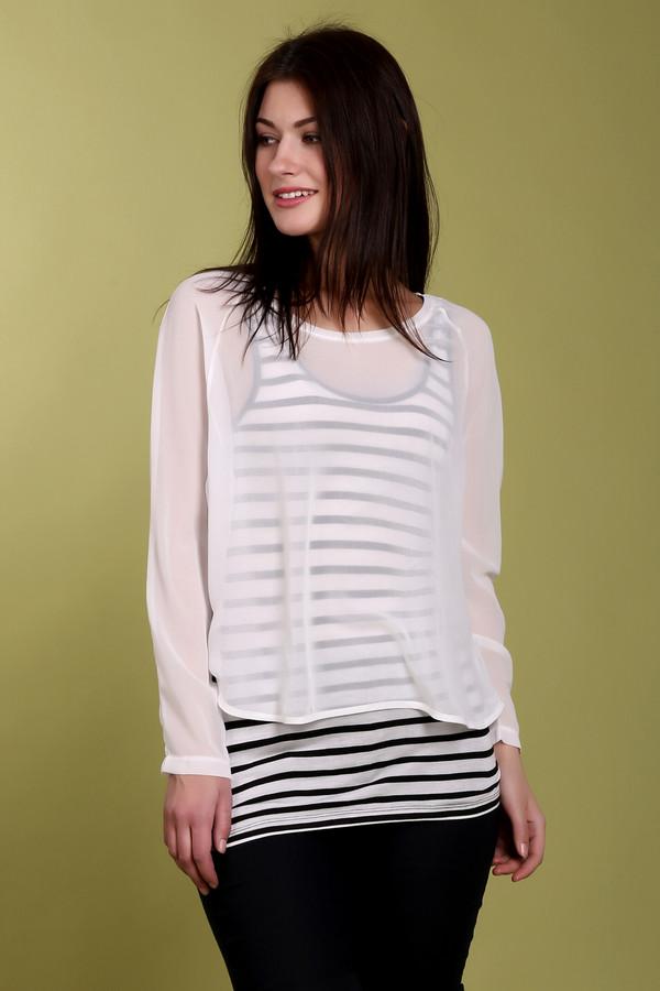 Блузa OuiБлузы<br>Блуза Oui представляет собой набор из длинной майки в черно-белую полоску, а также прозрачной блузы свободного покроя. Такая одежда идеально подойдет для повседневного использования. Черно-белую майку можно носить отдельно. Благодаря универсальной черно-белой расцветке, блуза подойдет под любые брюки или джинсы.