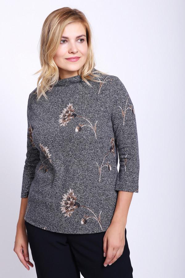 Пуловер Betty BarclayПуловеры<br>Пуловер серого цвета фирмы Betty Barclay. Ткань имеет принт. Модель выполнена прямым покроем. Изделие дополнено воротом лодочка, втачными рукавами 3/4 длинны, задней застежкой на молнию. Гармонировать можно с различными брюками и юбками.