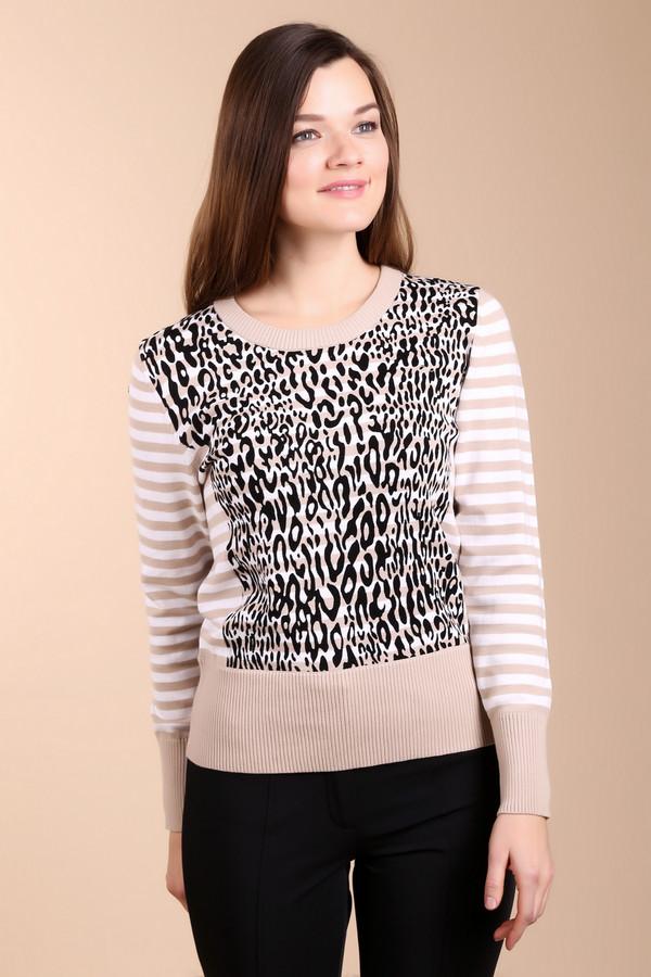 Пуловер PezzoПуловеры<br>Невероятно стильный пуловер от бренда Pezzo. Это женский пуловер бежевого цвета, в белую полоску, со звериным принтом черного цвета. Изделие дополнено круглым вырезом на резинке, широкой резинкой на поясе, а также резинкой на рукавах длиной три четверти. Материал - 100% хлопок.<br><br>Размер RU: 54<br>Пол: Женский<br>Возраст: Взрослый<br>Материал: хлопок 100%<br>Цвет: Разноцветный