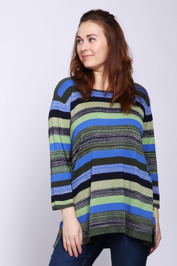 Пуловер FrappПуловеры<br>Пуловер женский разноцветного цвета фирмы Frapp. Модель выполнена прямым фасоном. Изделие дополнено округлым воротом, рукавами 3/4 длины. Ткань состоит из 50% вискозы, 36% хлопка, 14% микрофибры. Сочетать можно с различными брюками.