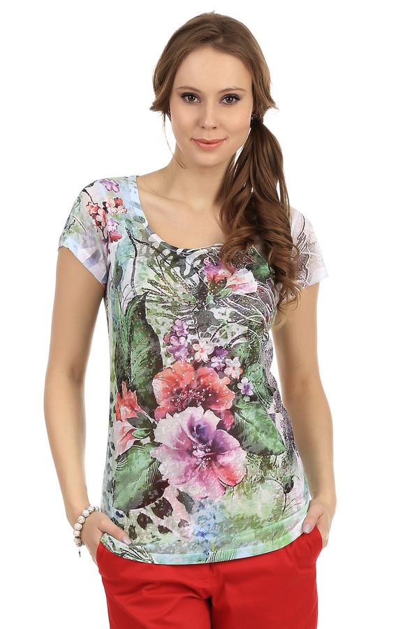 Футболка PezzoФутболки<br>Яркая женская футболка представленная брендом Pezzo. Это слегка удлиненная модель с короткими рукавами и U-образным вырезом. Данное изделие состоит из полиэстера и вискозы с крупными разноцветными цветочными принтами в белом, красном, розовом и зеленом тонах, спереди принт украшен стразами.<br><br>Размер RU: 42<br>Пол: Женский<br>Возраст: Взрослый<br>Материал: полиэстер 65%, вискоза 35%<br>Цвет: Разноцветный
